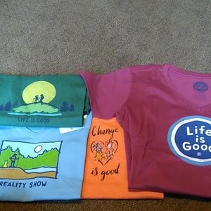 4 Pack of Life is Good T-shirts Women's Sz XS